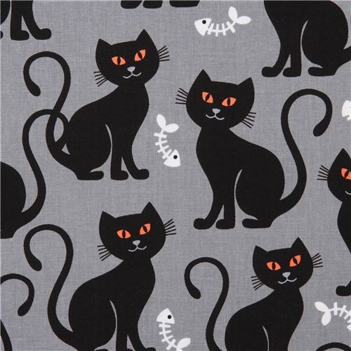 grey Halloween Michael Miller cat fabric