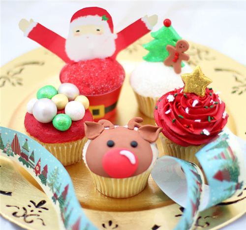 A colourful Christmas plate with adorable muffins