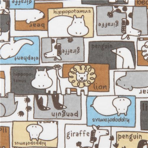 Kokka knit fabric with animals and rectangles