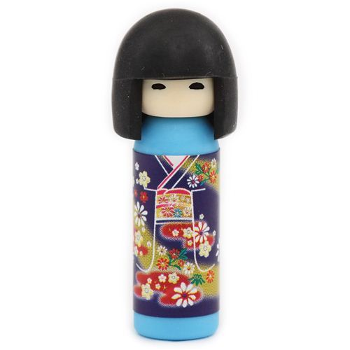 blue Japanese Kokeshi dolls eraser flowers from Japan