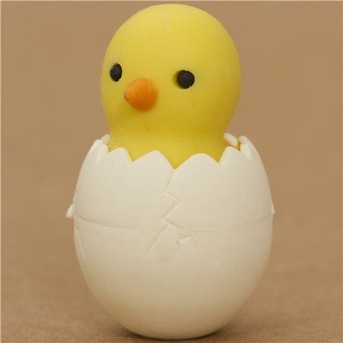 yellow chick in egg eraser by Iwako from Japan