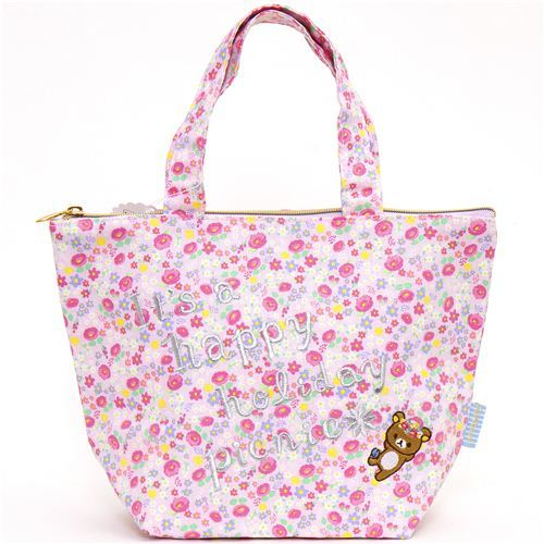 cute Rilakkuma bear lunch bag flowers & picnic
