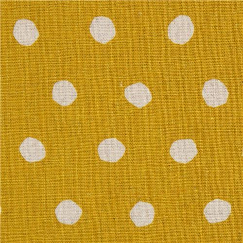 mustard yellow echino canvas fabric with natural color dots Standard