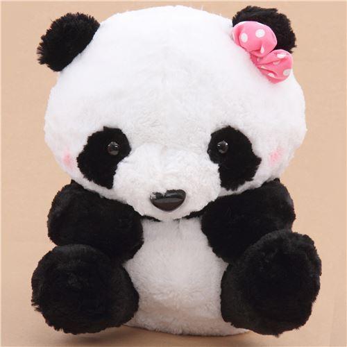 big black white panda with pink bow squeaky plush toy Japan