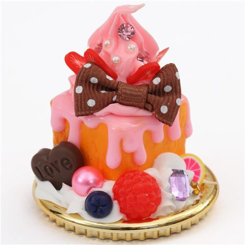 pink cream  raspberry brown bow honey toast dessert figure from Japan