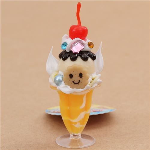 yellow vanilla ice cream cherry biscuit parfait figure from Japan