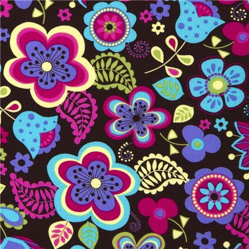 Michael Miller flower fabric turquoise-pink blossom