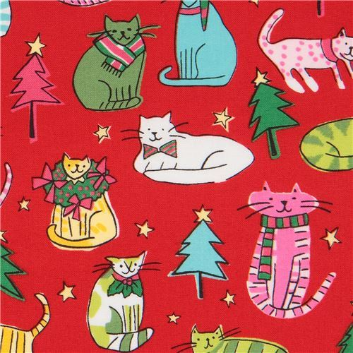 red Alexander Henry fabric Christmas colorful animal Jingle Cats