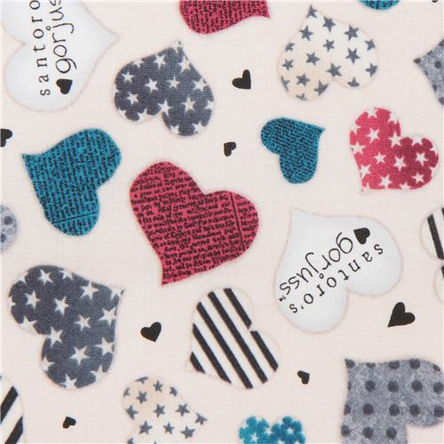 cream fabric grey blue heart Gorjuss Quilting Treasures
