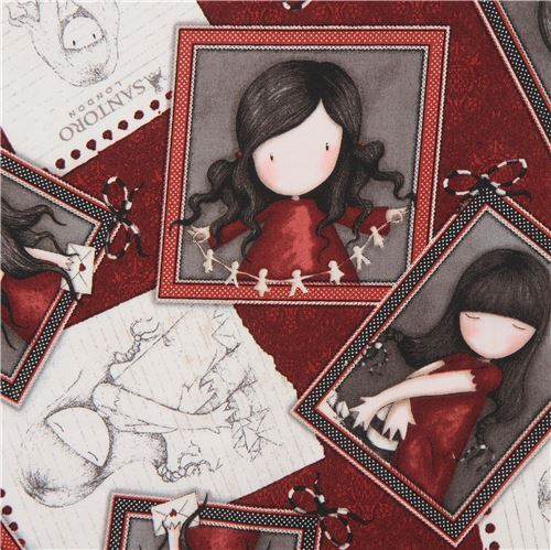 dark red fabric cute children picture frame Gorjuss Quilting Treasures