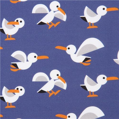 seagull bird animal by Copenhagen Print Factory dark blue-purple fabric