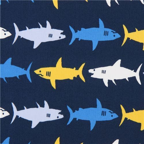 shark animal Robert Kaufman navy blue fabric Sevenberry Mini Prints