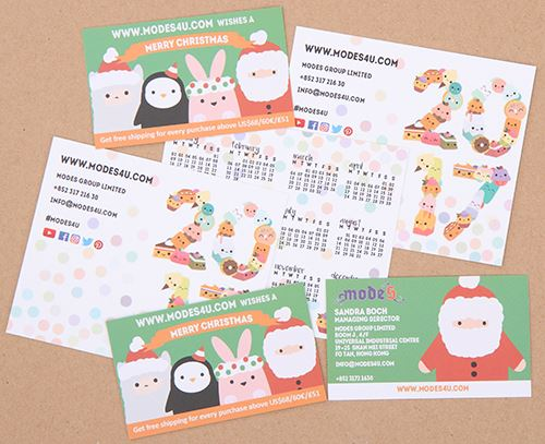 Our kawaii business cards and 2017 calendar!