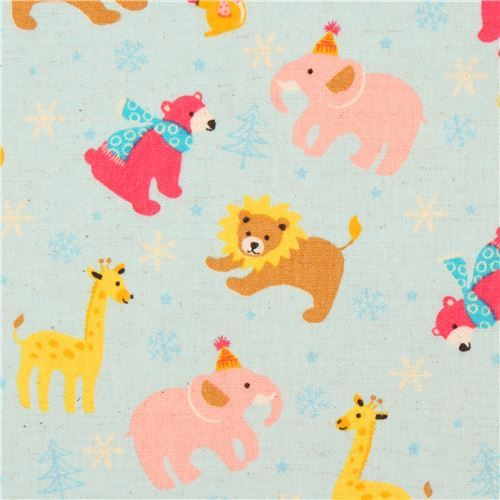 light blue brushed Canvas lion giraffe snowflake fabric by Kokka from Japan