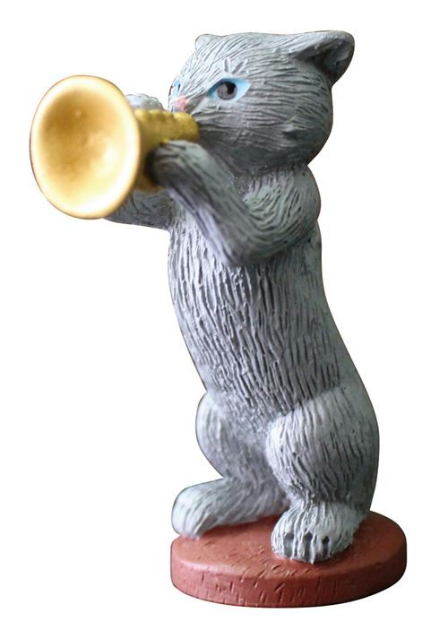 grey cat with trumpet music instrument figurine from Japan