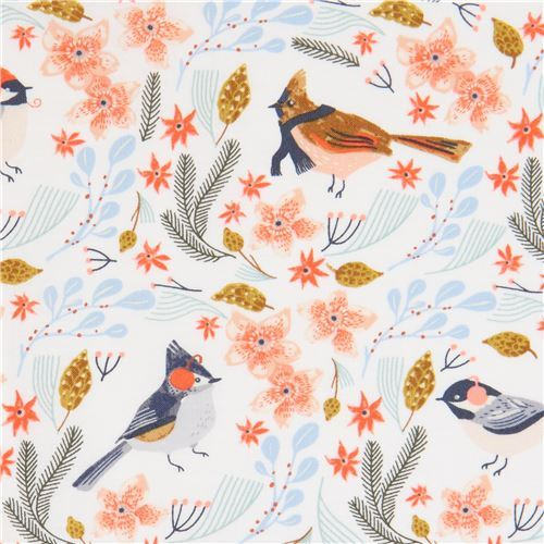 winter bird fabric by Dear Stella in white