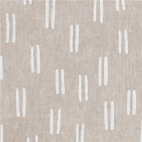 natural color Robert Kaufman linen and cotton fabric with white dashes