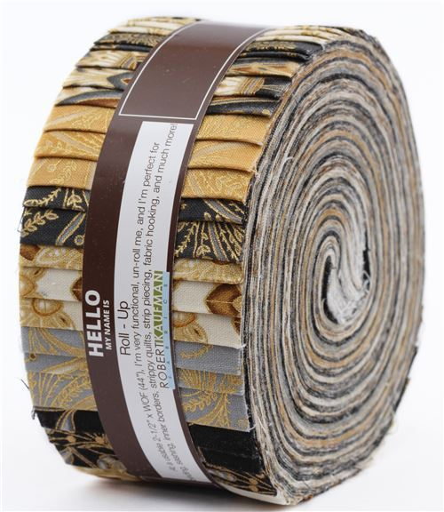 Roll-up fabric roll Vintage Colorstory ornament gold metallic Robert Kaufman