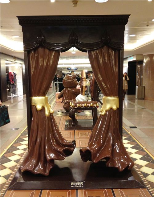 These chocolate curtains look so fluffy and light