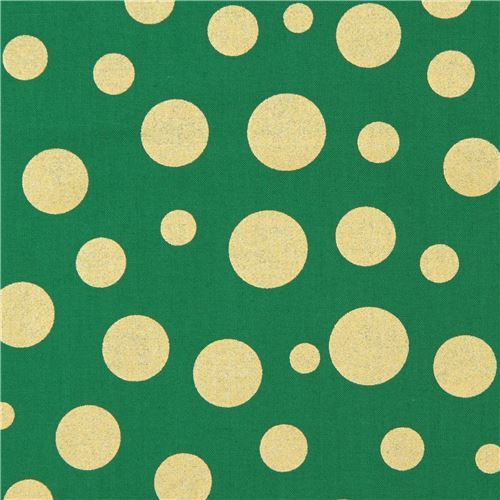 green Michael Miller fabric Lolli Dot with shiny gold dots