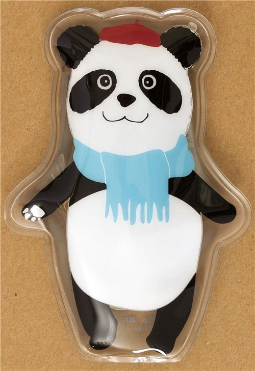 Panda bear with scarf and beanie pocket warmer hot pad