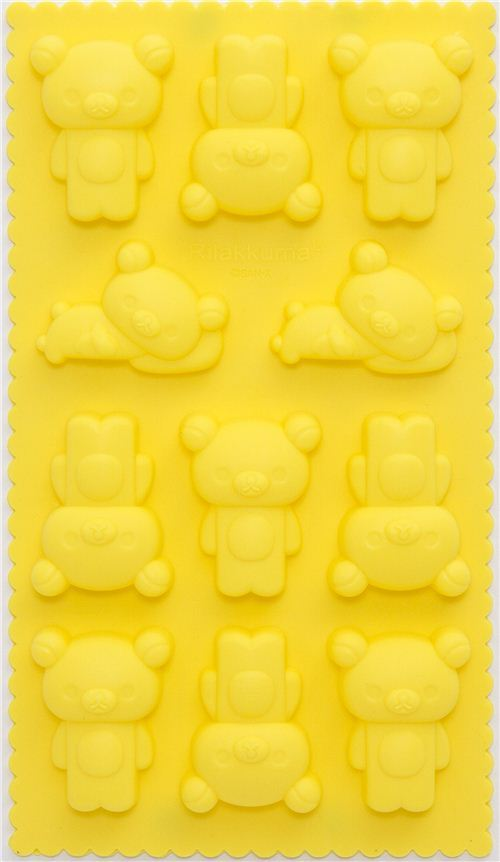 yellow Rilakkuma bear silicone ice tray mold