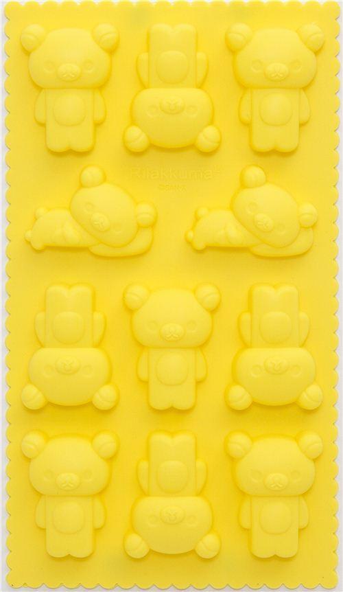 yellow Rilakkuma bear silicone ice tray mold