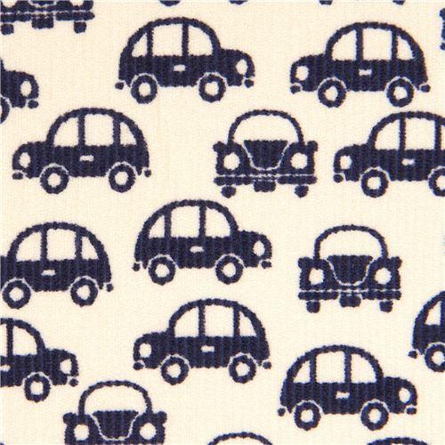 dark blue cars fabric for boys by Kokka Japan