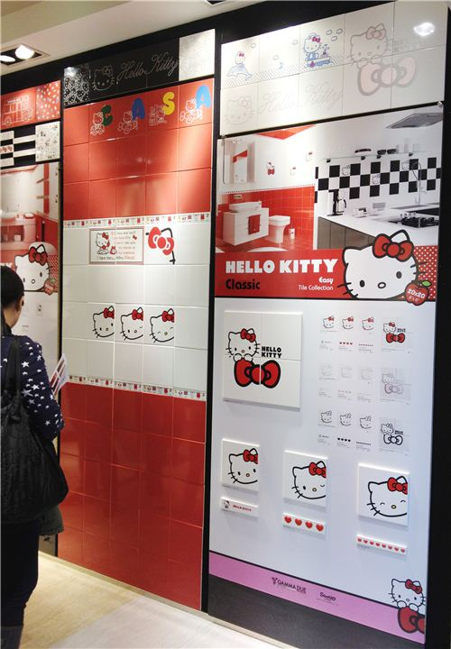 Lovely Hello Kitty tiles displayed in a shop in Hong Kong