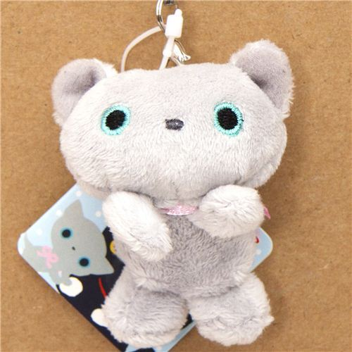 Kutusita Nyanko grey cat plush cellphone charm