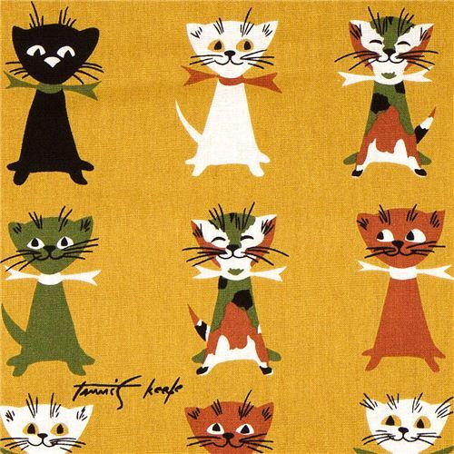 Michael Miller fabric Contented Cats with colourful cat