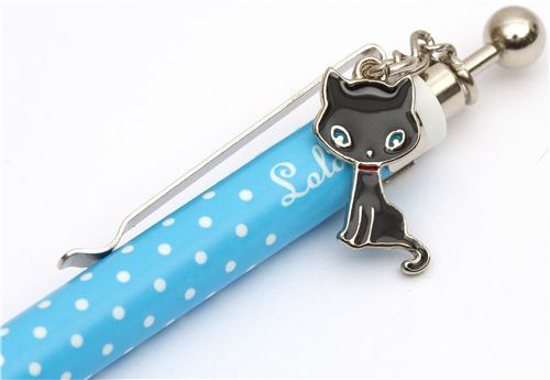 blue-white polka dots ballpoint with cat