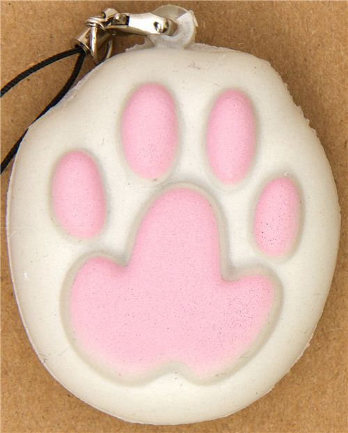 kawaii squishy charm with pink cat's paw