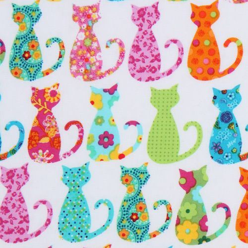 cute white Michael Miller fabric colourful Calico Cat