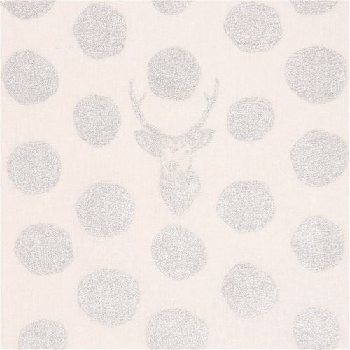off-white echino canvas fabric stag with silver metallic dots Sambar