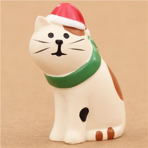 cat with hat and scarf Christmas figurine Japan
