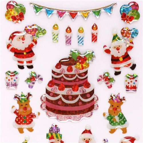 cute Santa Claus reindeer party glitter stickers from Japan