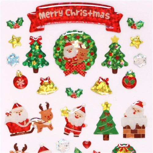 cute Santa Claus reindeer snowman glitter stickers from Japan