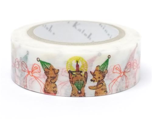 white with Santa bear bow Washi Masking Tape deco tape Shinzi Katoh