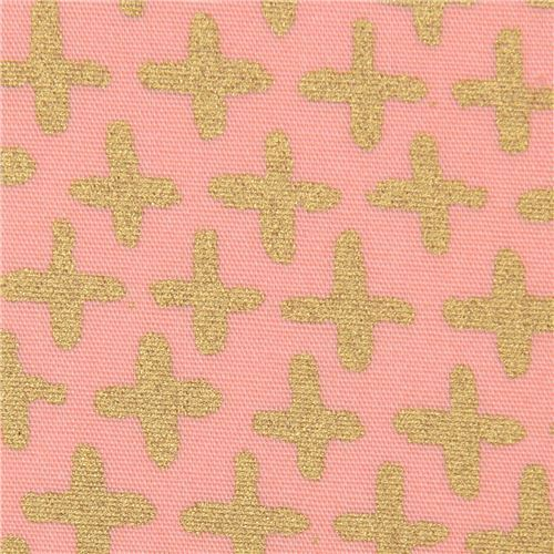 peach with gold cross metallic organic fabric monaluna USA
