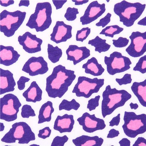 Robert Kaufman Cheetah purple Laguna Jersey knit fabric