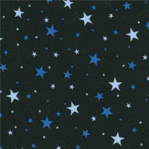 black Robert Kaufman small blue star fabric Sevenberry Petite Classiques