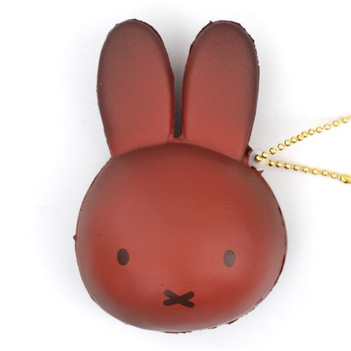 cute dark brown Miffy bunny rabbit bread bun squishy for bag backpack