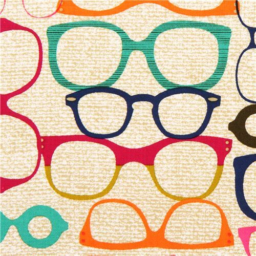 beige-brown retro glasses fabric by Michael Miller
