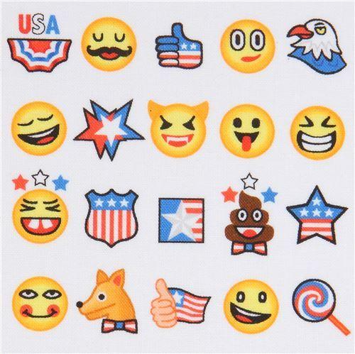 Robert Kaufman colorful funny emoji white fabric OMG LOL