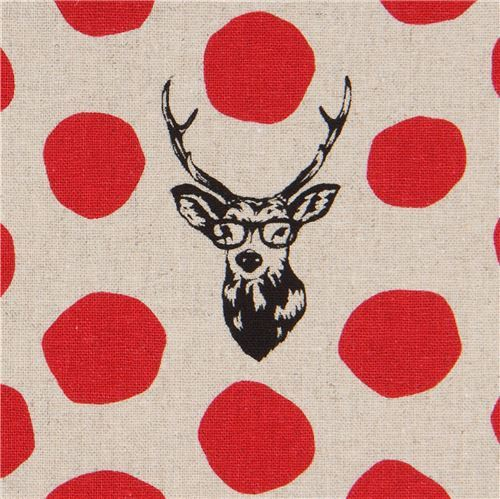 natural color echino canvas laminate fabric stag red dot Sambar
