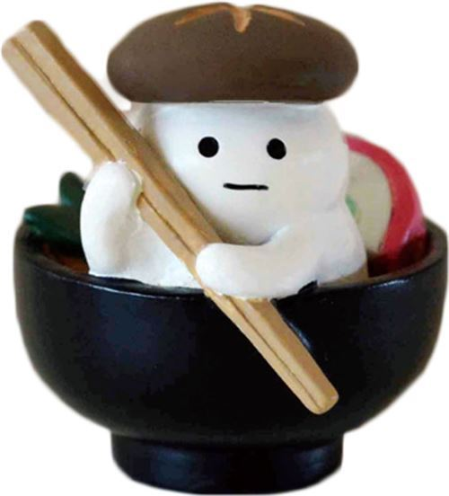 black bowl with mushroom and food figurine from Japan