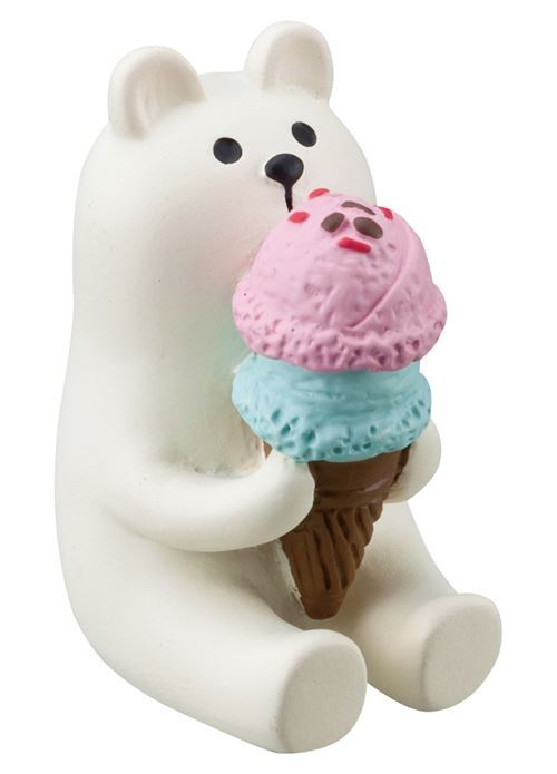 sitting cream bear with ice cream figurine Japan