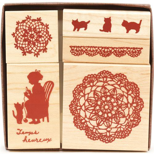 cute wooden stamp set flower ornaments grandmother