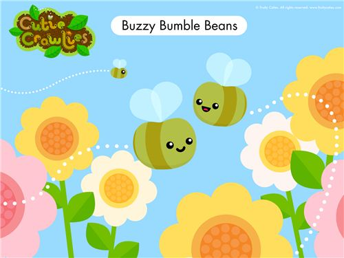 The cute flowers and bumble beans wallpaper has a great spring design